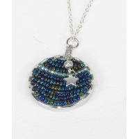 Beaded Round Pendant with Star Charm