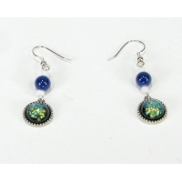 Faux Dichroic Glass Earrings Blue Green