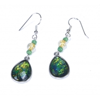 Faux Dichroic Glass Earrings Green Gold