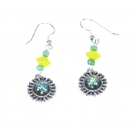 Faux Dichroic Glass Earrings Green Yellow