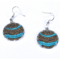 Beaded Hoop Earrings in Bronze and Teal