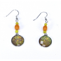 Faux Dichroic Glass Earrings Orange Yellow
