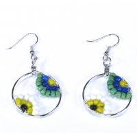Beaded Hoop Earrings in Blue Green Yellow White Black