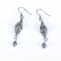 Silver Rose Bevel Wire Wrapped Earrings